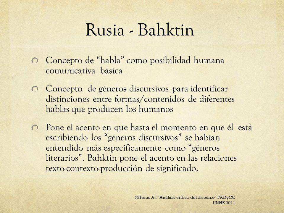 Rusia - BahktinConcepto de habla como posibilidad humana comunicativa básica.