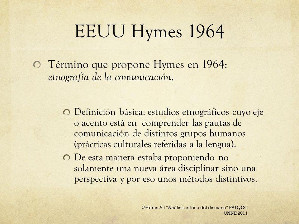 EEUU Hymes 1964Término que propone Hymes en 1964: etnografía de la comunicación.