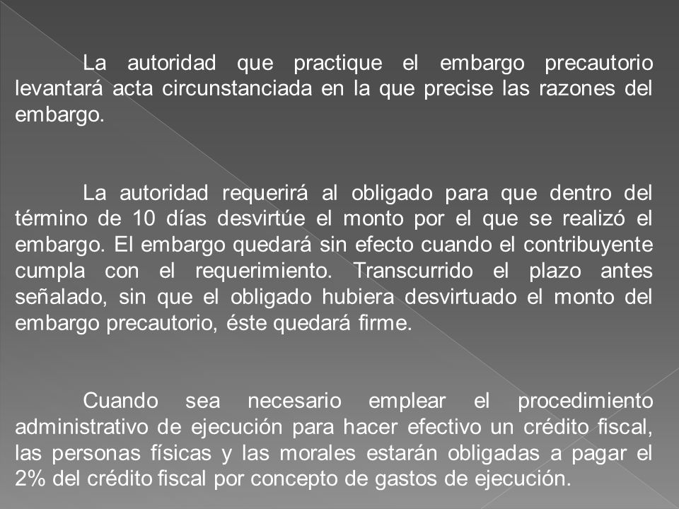 La autoridad que practique el embargo precautorio levantará acta circunstanciada en la que precise las razones del embargo.