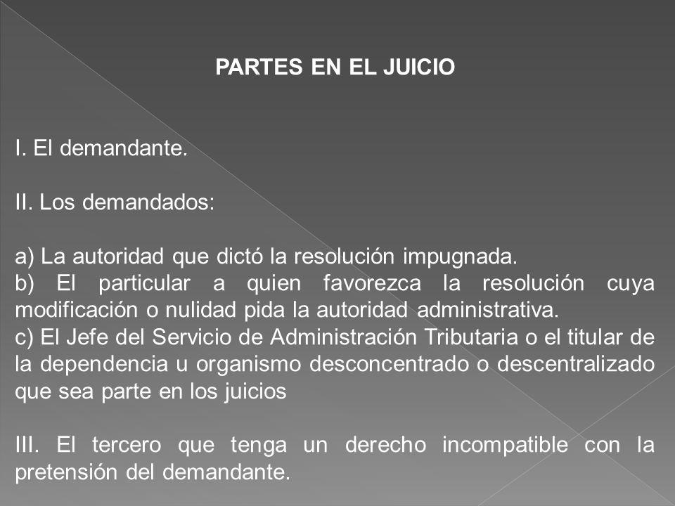 PARTES EN EL JUICIO I. El demandante. II. Los demandados: a) La autoridad que dictó la resolución impugnada.