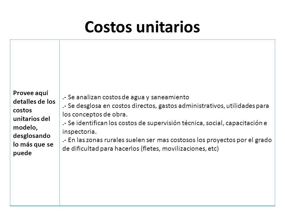 Costos unitarios Provee aquí detalles de los costos unitarios del modelo, desglosando lo más que se puede.