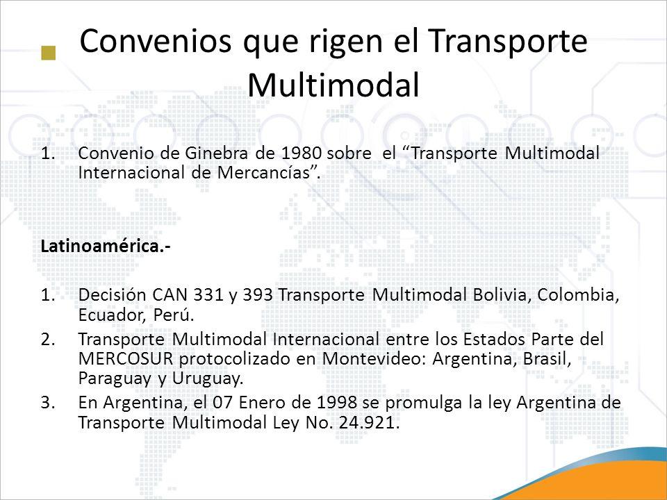 Convenios que rigen el Transporte Multimodal