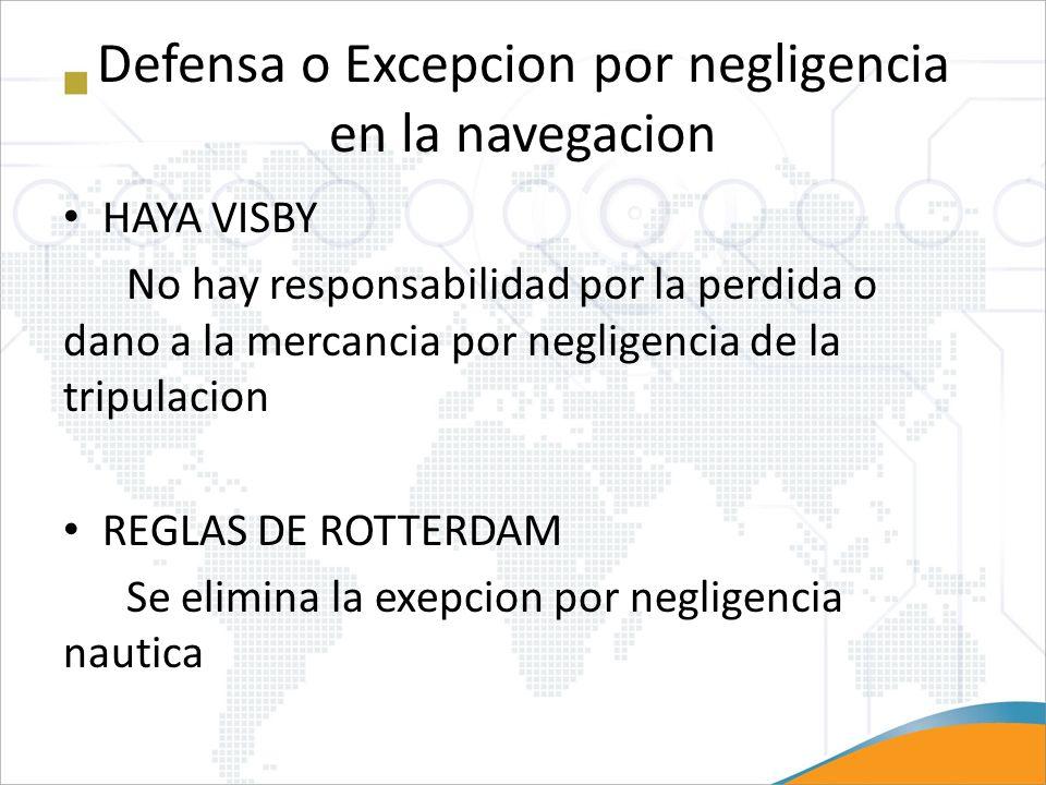 Defensa o Excepcion por negligencia en la navegacion