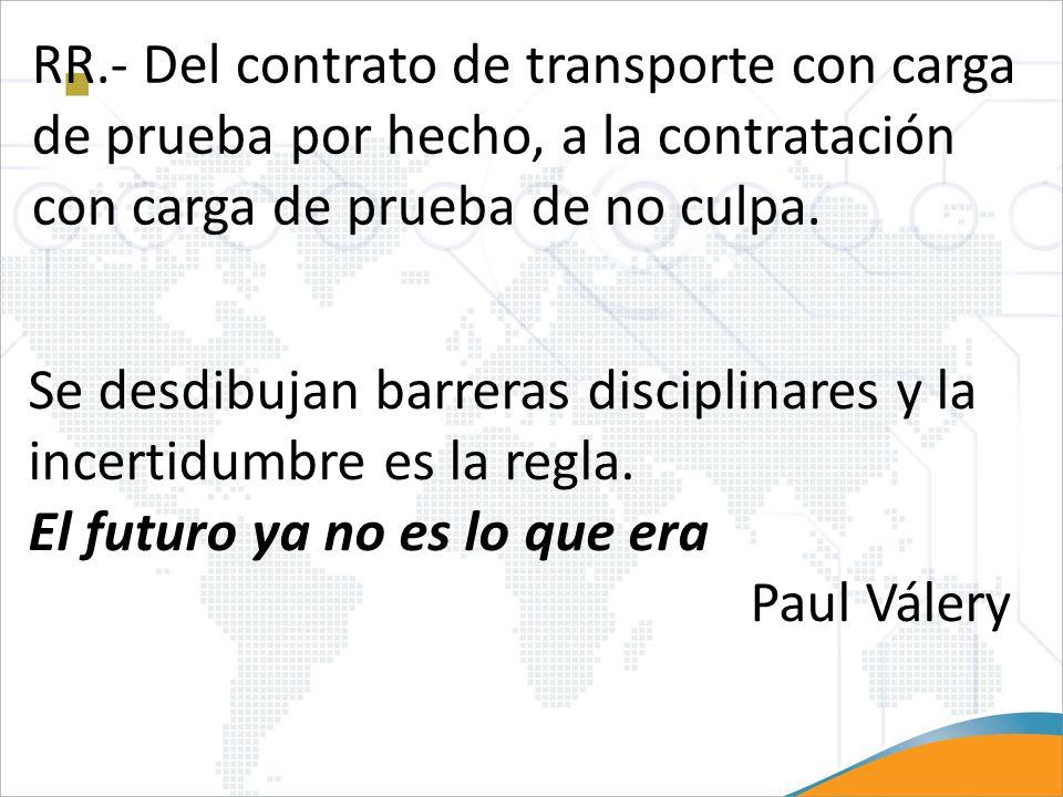 RR.- Del contrato de transporte con carga de prueba por hecho, a la contratación con carga de prueba de no culpa.