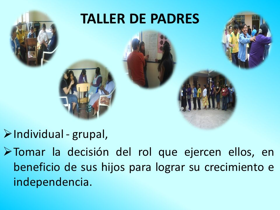 TALLER DE PADRES Individual - grupal,