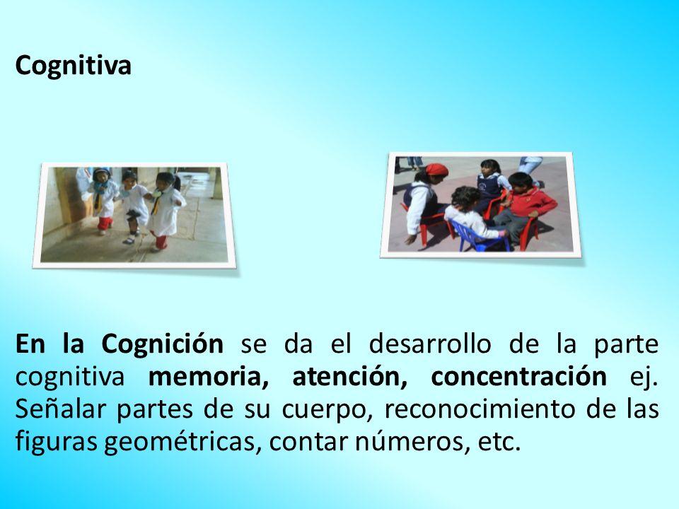 Cognitiva En la Cognición se da el desarrollo de la parte cognitiva memoria, atención, concentración ej.