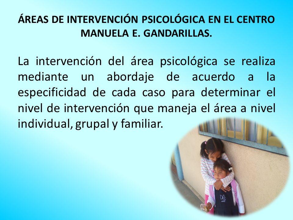 ÁREAS DE INTERVENCIÓN PSICOLÓGICA EN EL CENTRO MANUELA E. GANDARILLAS.