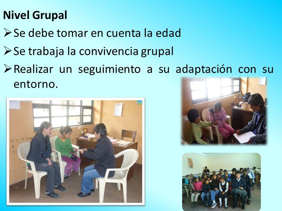 Nivel Grupal Se debe tomar en cuenta la edad. Se trabaja la convivencia grupal.