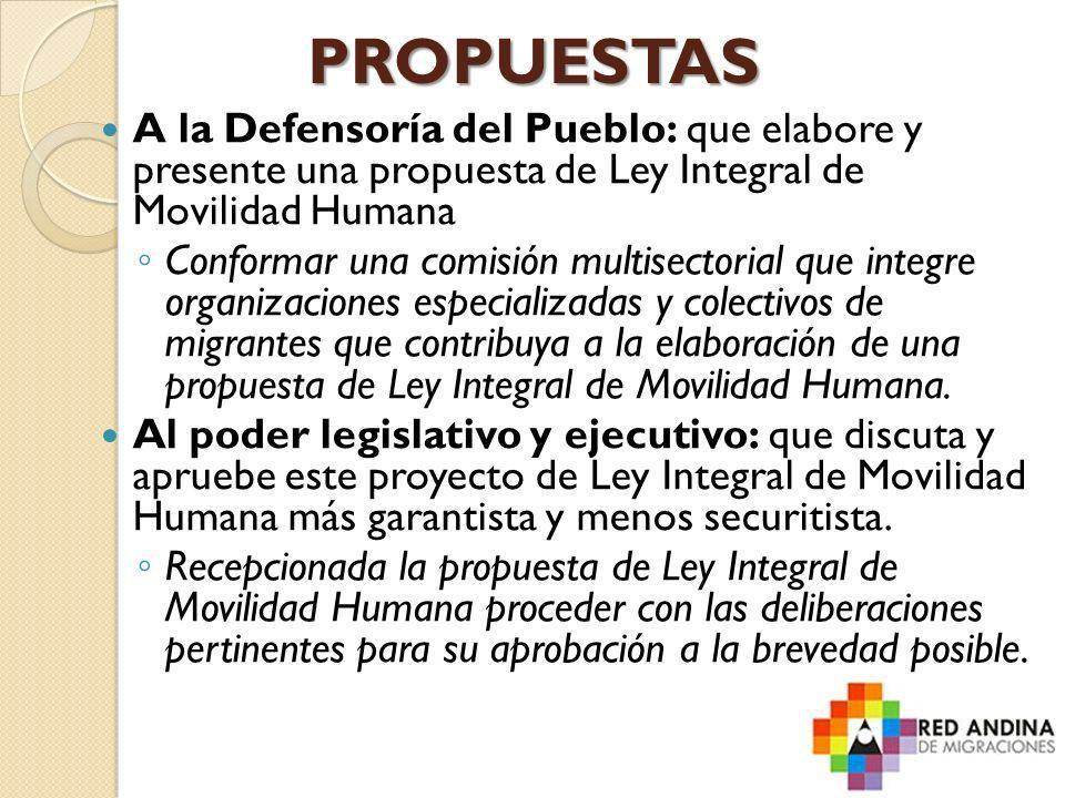 PROPUESTAS A la Defensoría del Pueblo: que elabore y presente una propuesta de Ley Integral de Movilidad Humana.