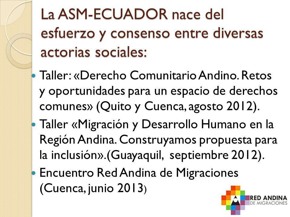 La ASM-ECUADOR nace del esfuerzo y consenso entre diversas actorias sociales: