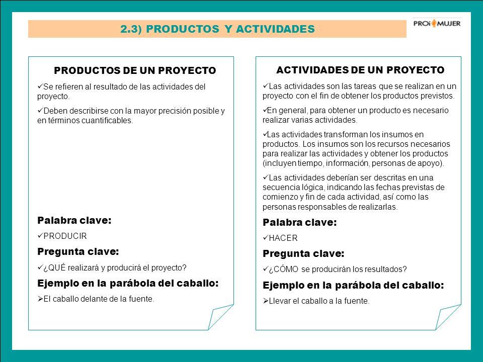 2.3) PRODUCTOS Y ACTIVIDADES