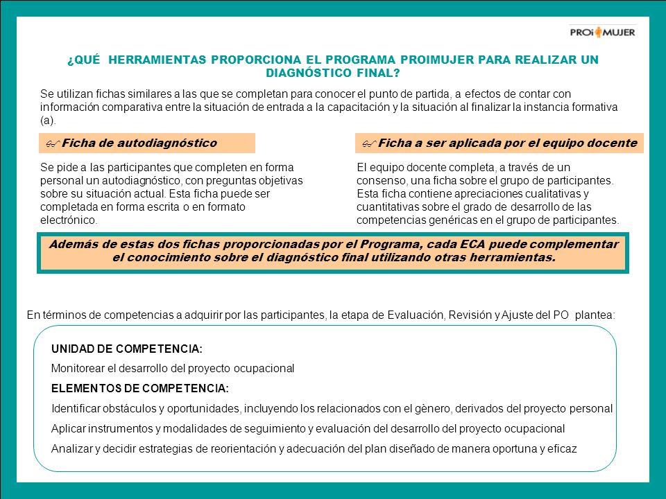 ¿QUÉ HERRAMIENTAS PROPORCIONA EL PROGRAMA PROIMUJER PARA REALIZAR UN DIAGNÓSTICO FINAL