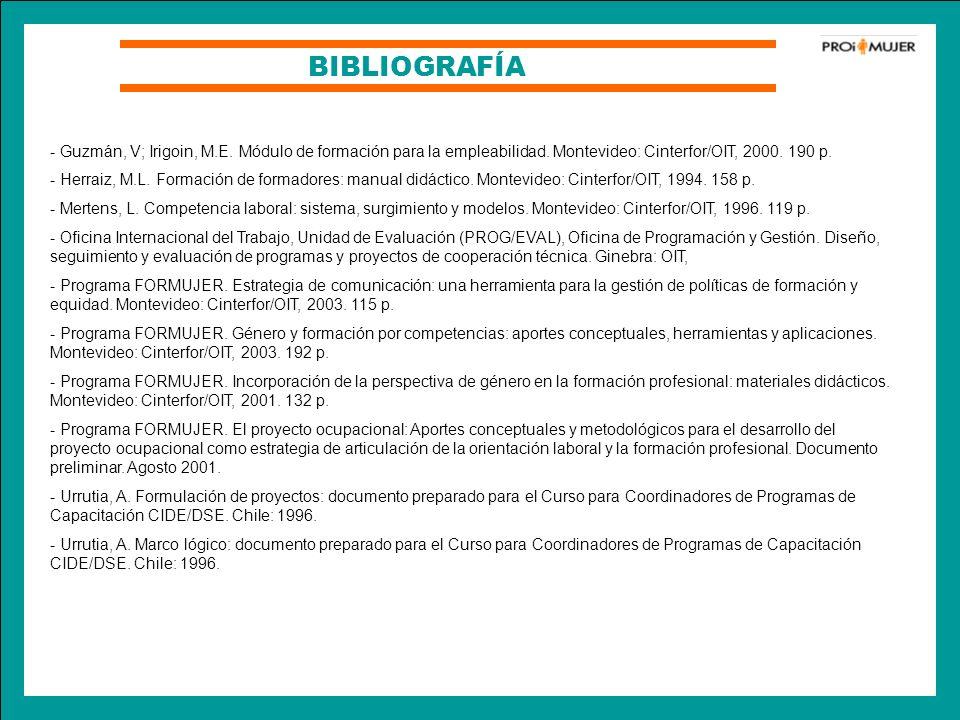 BIBLIOGRAFÍA - Guzmán, V; Irigoin, M.E. Módulo de formación para la empleabilidad. Montevideo: Cinterfor/OIT, 2000. 190 p.