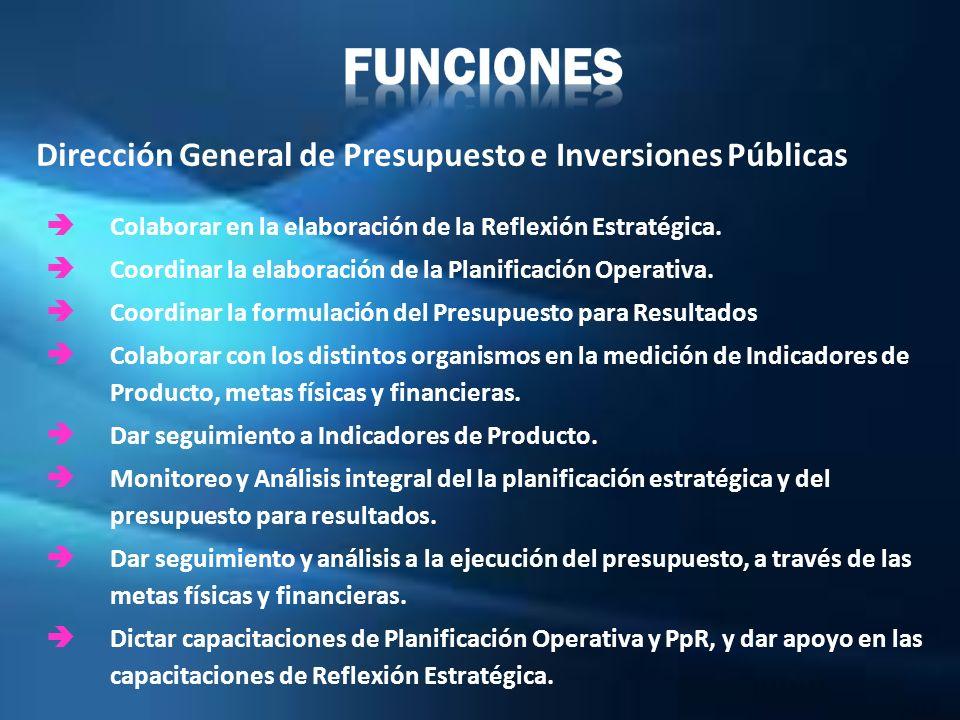 FUNCIONES Dirección General de Presupuesto e Inversiones Públicas