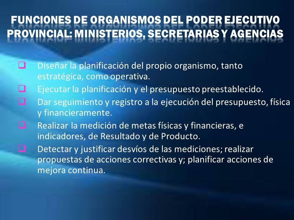 Funciones de Organismos del Poder Ejecutivo Provincial: Ministerios, Secretarias y Agencias