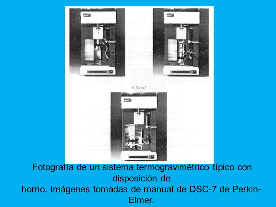Fotografía de un sistema termogravimétrico típico con disposición de horno.