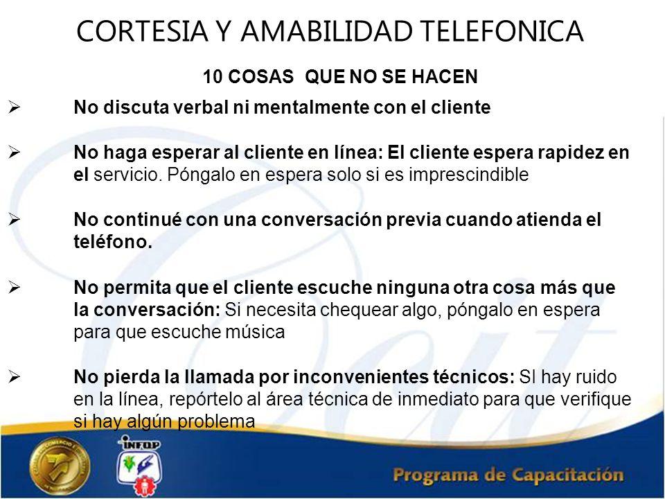 CORTESIA Y AMABILIDAD TELEFONICA 10 COSAS QUE NO SE HACEN