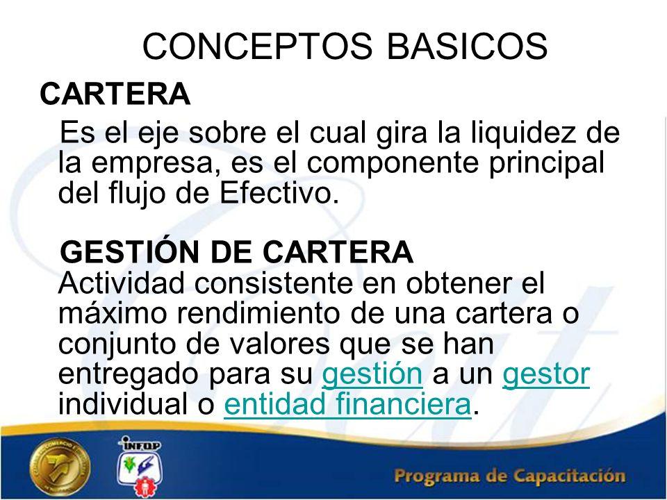 CONCEPTOS BASICOS CARTERA. Es el eje sobre el cual gira la liquidez de la empresa, es el componente principal del flujo de Efectivo.