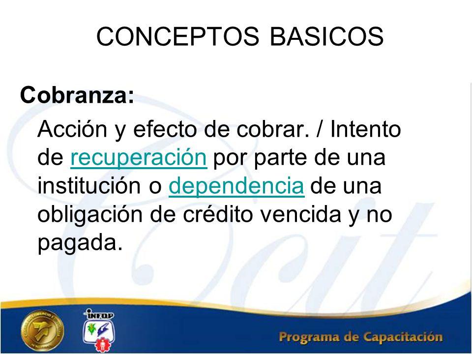 CONCEPTOS BASICOS Cobranza: