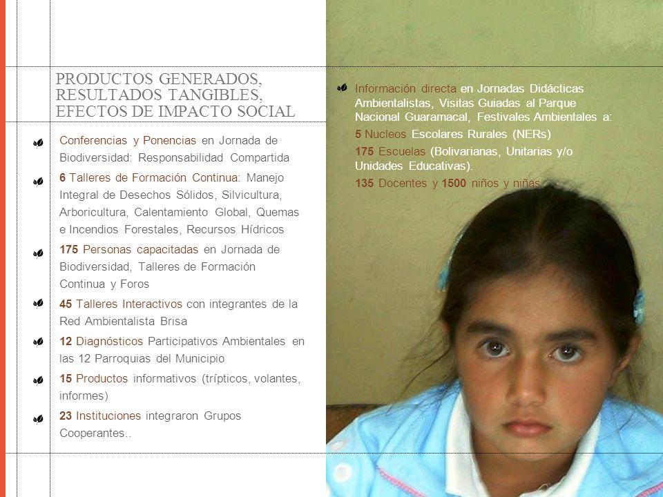 PRODUCTOS GENERADOS, RESULTADOS TANGIBLES, EFECTOS DE IMPACTO SOCIAL