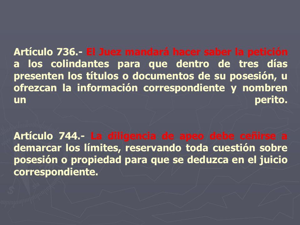 Artículo 736.- El Juez mandará hacer saber la petición a los colindantes para que dentro de tres días presenten los títulos o documentos de su posesión, u ofrezcan la información correspondiente y nombren un perito.