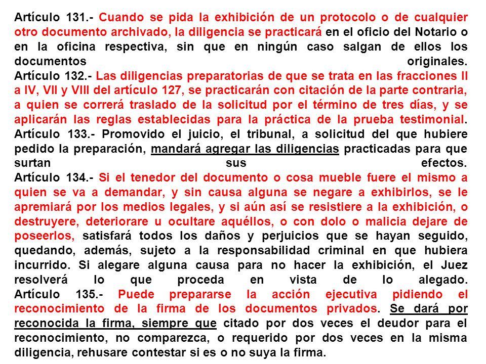 Artículo 131.- Cuando se pida la exhibición de un protocolo o de cualquier otro documento archivado, la diligencia se practicará en el oficio del Notario o en la oficina respectiva, sin que en ningún caso salgan de ellos los documentos originales.