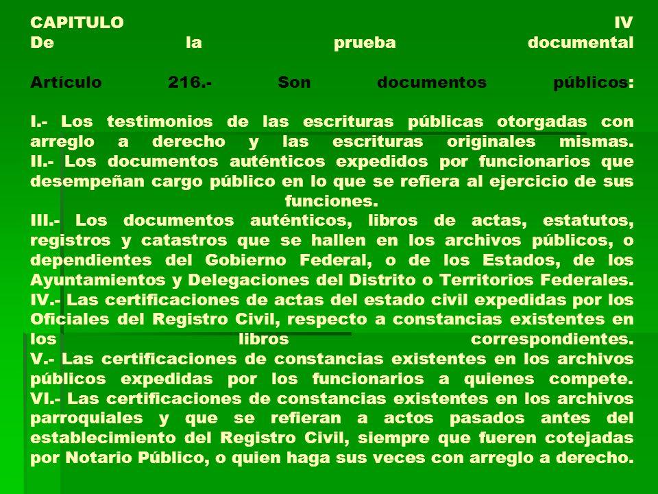 CAPITULO IV De la prueba documental Artículo 216