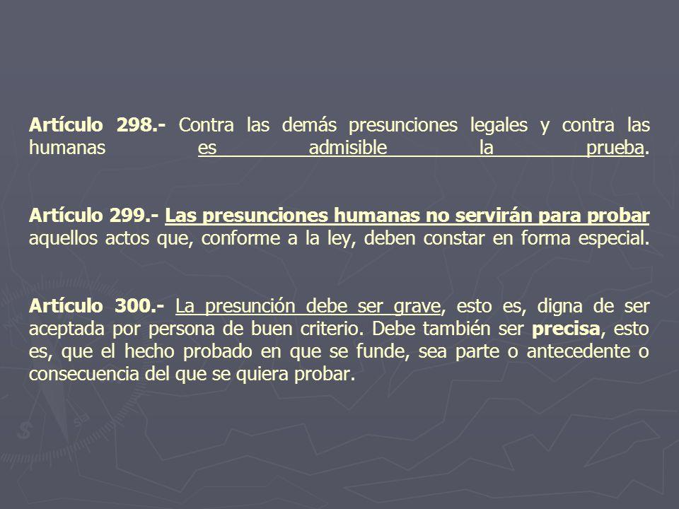 Artículo 298.- Contra las demás presunciones legales y contra las humanas es admisible la prueba.