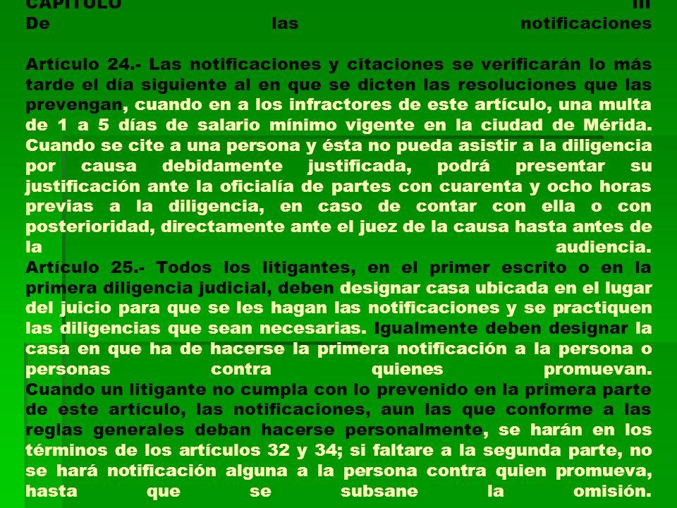 CAPITULO III De las notificaciones Artículo 24
