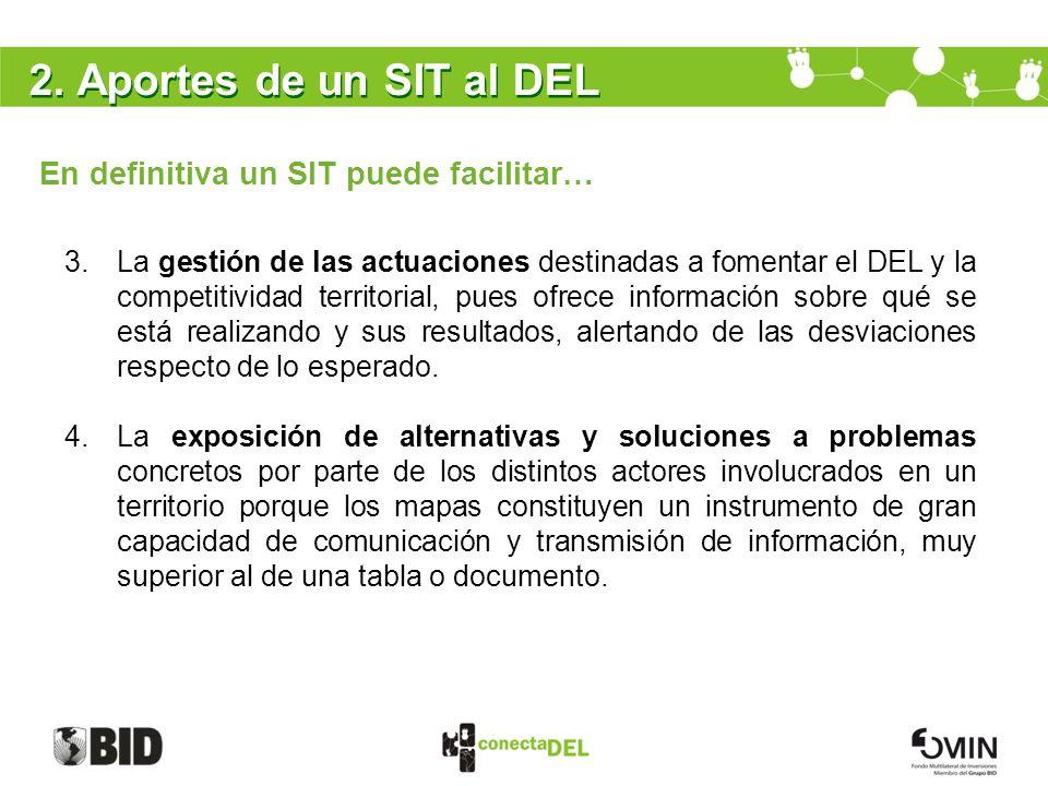 2. Aportes de un SIT al DEL En definitiva un SIT puede facilitar…