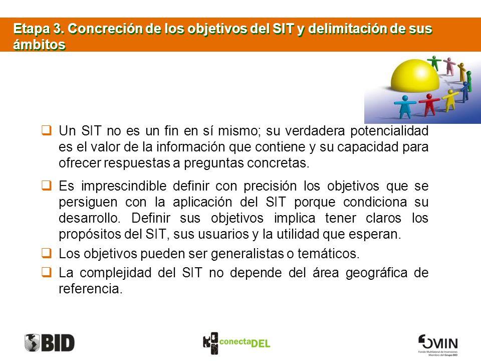 Etapa 3. Concreción de los objetivos del SIT y delimitación de sus ámbitos