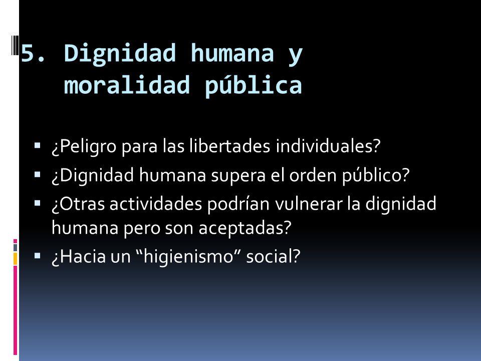 Dignidad humana y moralidad pública