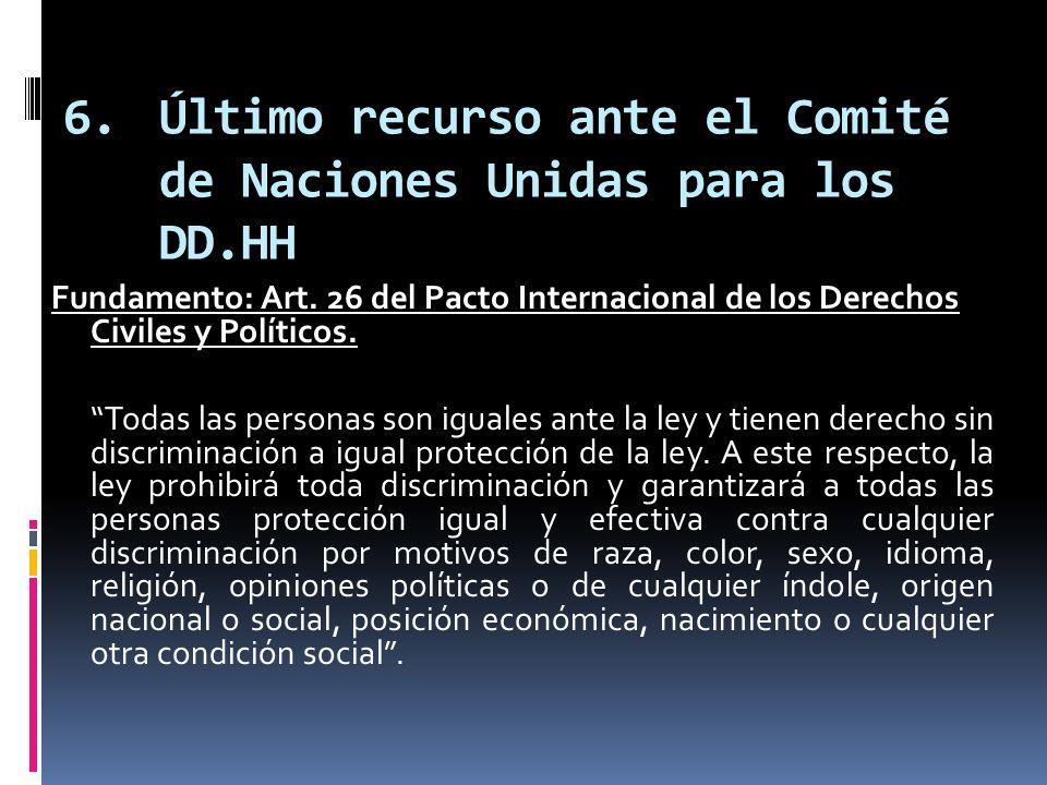 Último recurso ante el Comité de Naciones Unidas para los DD.HH