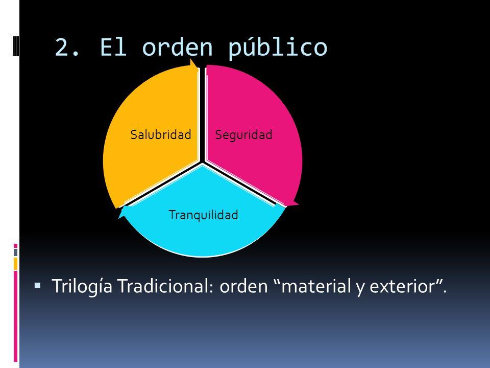 El orden público Trilogía Tradicional: orden material y exterior .