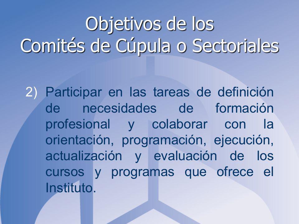 Objetivos de los Comités de Cúpula o Sectoriales