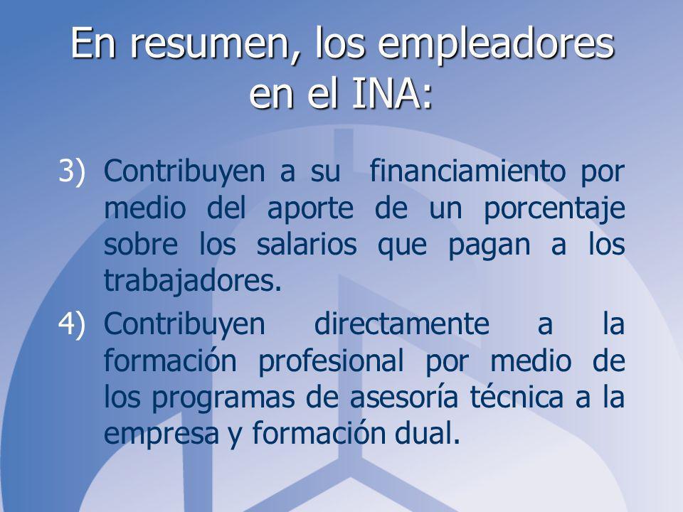 En resumen, los empleadores en el INA: