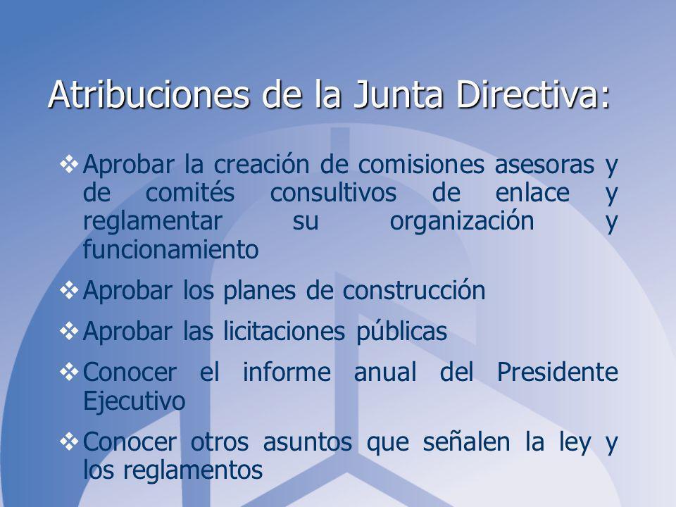 Atribuciones de la Junta Directiva: