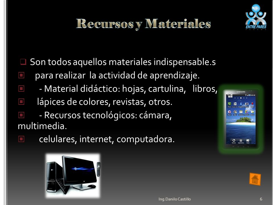 Recursos y Materiales Son todos aquellos materiales indispensable.s