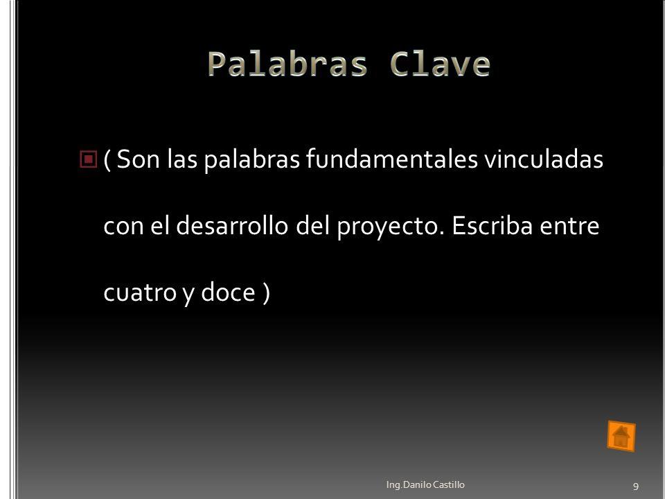 Palabras Clave ( Son las palabras fundamentales vinculadas con el desarrollo del proyecto. Escriba entre cuatro y doce )