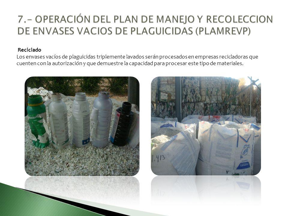 7.- OPERACIÓN DEL PLAN DE MANEJO Y RECOLECCION DE ENVASES VACIOS DE PLAGUICIDAS (PLAMREVP)