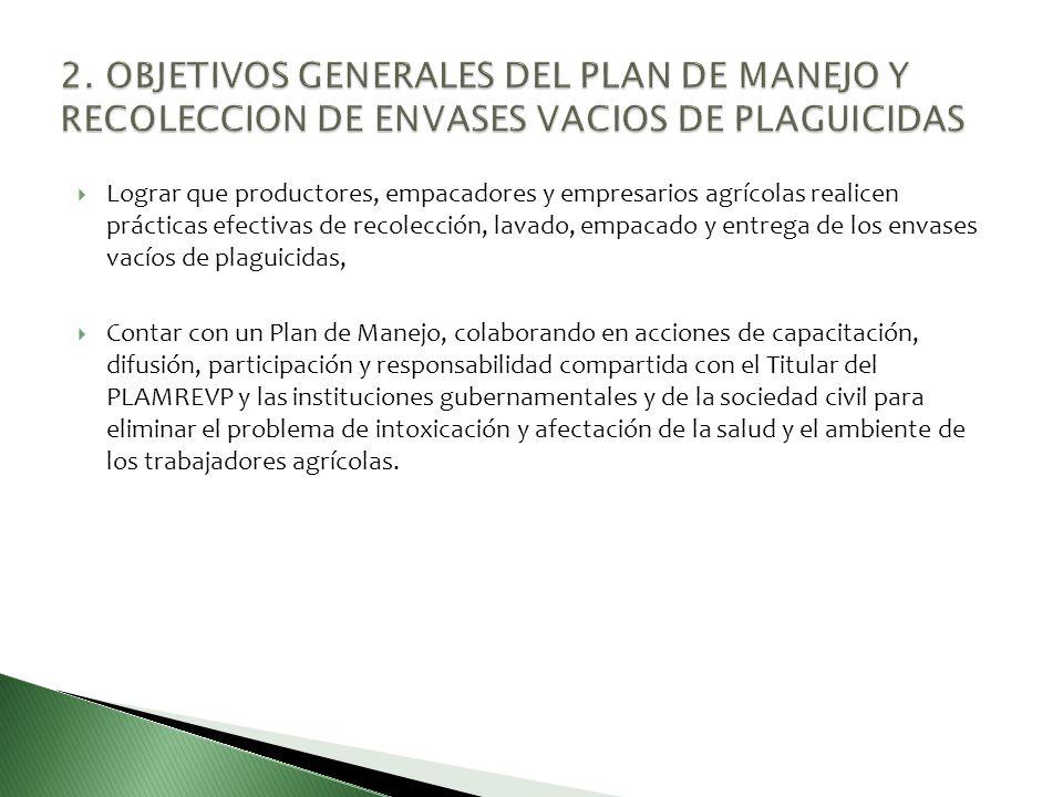 2. OBJETIVOS GENERALES DEL PLAN DE MANEJO Y RECOLECCION DE ENVASES VACIOS DE PLAGUICIDAS