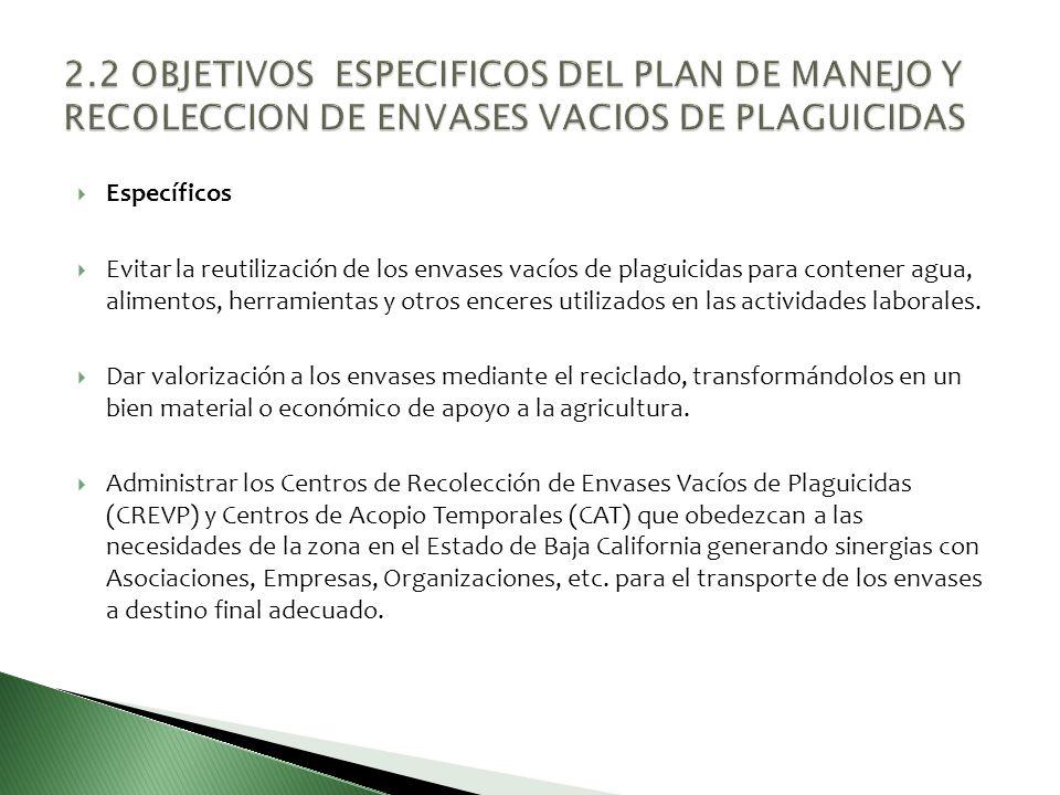 2.2 OBJETIVOS ESPECIFICOS DEL PLAN DE MANEJO Y RECOLECCION DE ENVASES VACIOS DE PLAGUICIDAS