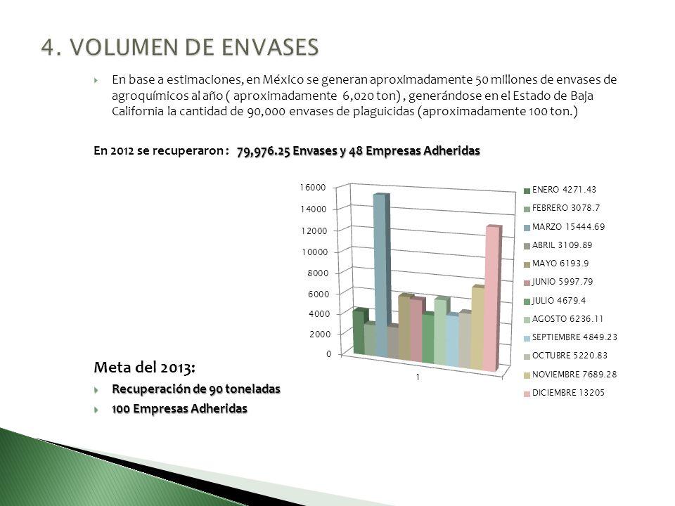 4. VOLUMEN DE ENVASES Meta del 2013: