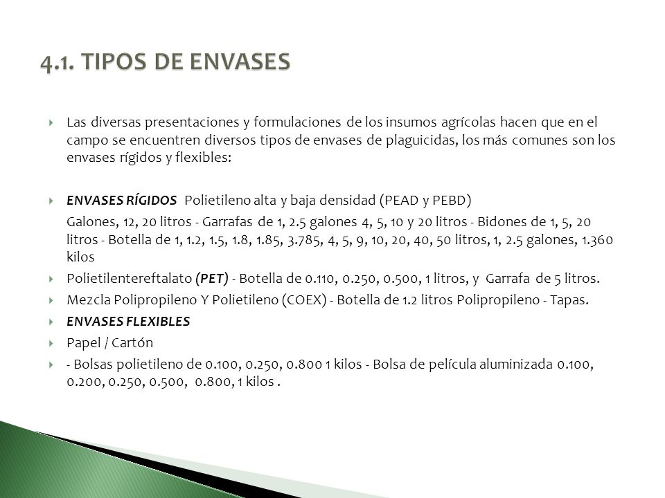 4.1. TIPOS DE ENVASES