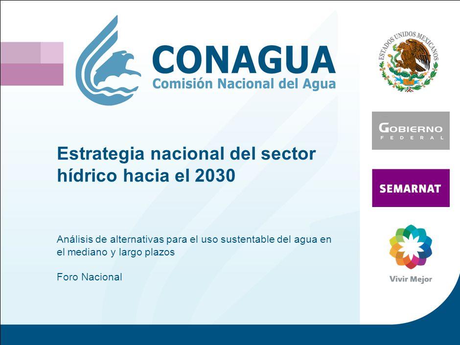 Estrategia nacional del sector hídrico hacia el 2030 Análisis de alternativas para el uso sustentable del agua en el mediano y largo plazos Foro Nacional