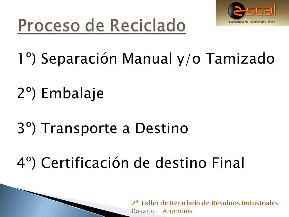 Proceso de Reciclado 1º) Separación Manual y/o Tamizado 2º) Embalaje