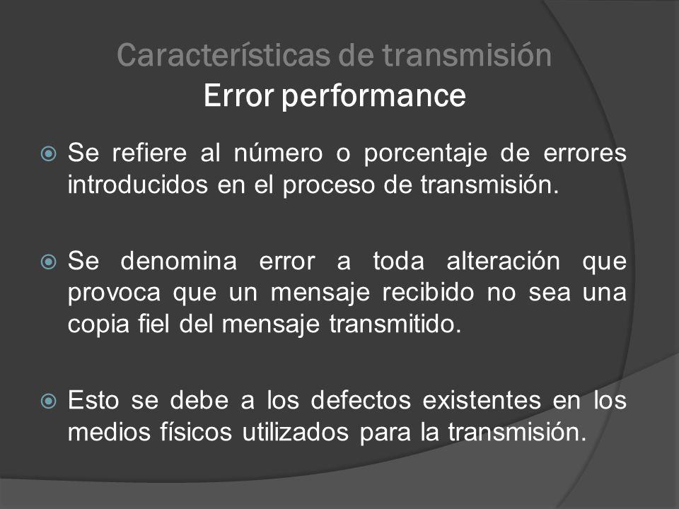 Características de transmisión Error performance