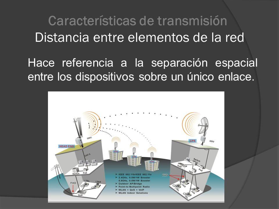 Características de transmisión Distancia entre elementos de la red