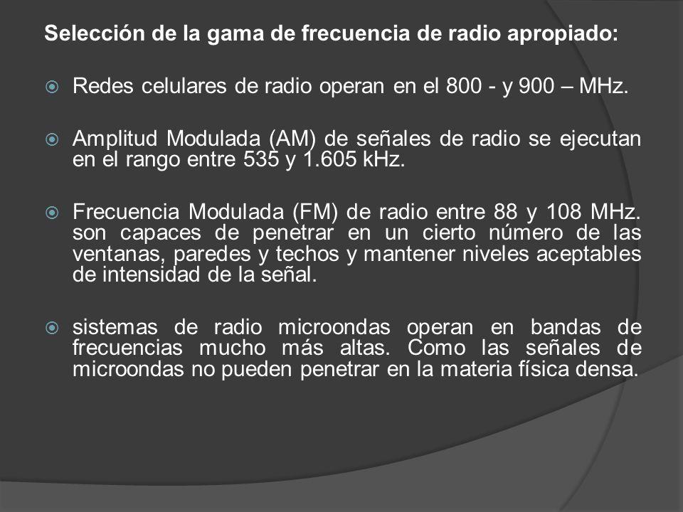 Selección de la gama de frecuencia de radio apropiado: