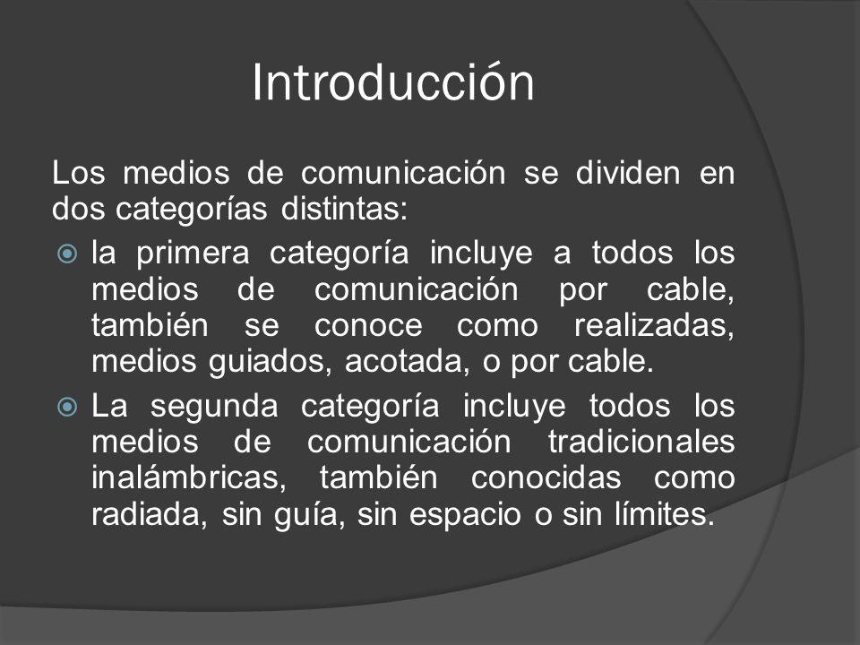 Introducción Los medios de comunicación se dividen en dos categorías distintas: